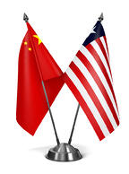 China and Liberia - Miniature Flags Isolated on White Background.