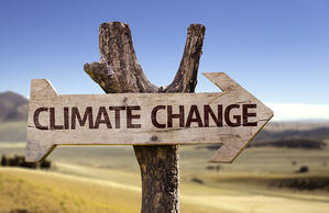 Climate Change wooden sign with a desert background