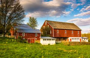 Red barn on a farm in rural York County, Pennsylvania.-1